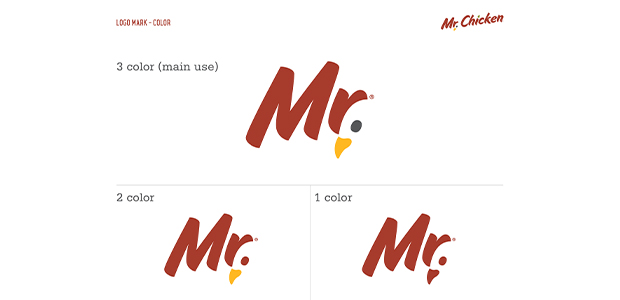 Logo Mark Logo Usage Visual Identity Section of Identity Standards Manual for Mr. Chicken Cleveland