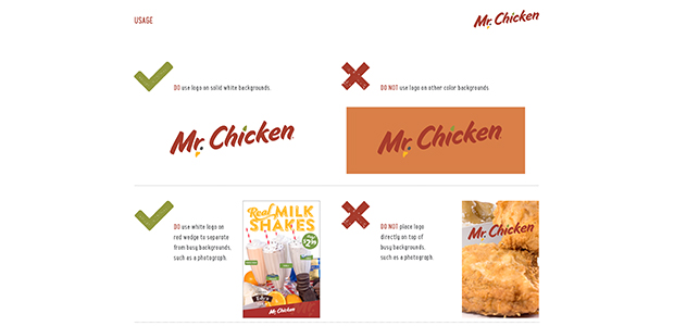 Logo Usage Visual Identity Section of Identity Standards Manual for Mr. Chicken Cleveland