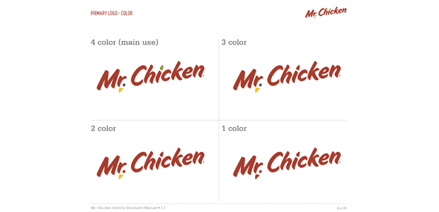 Visual Identity Section of Identity Standards Manual for Mr. Chicken Cleveland